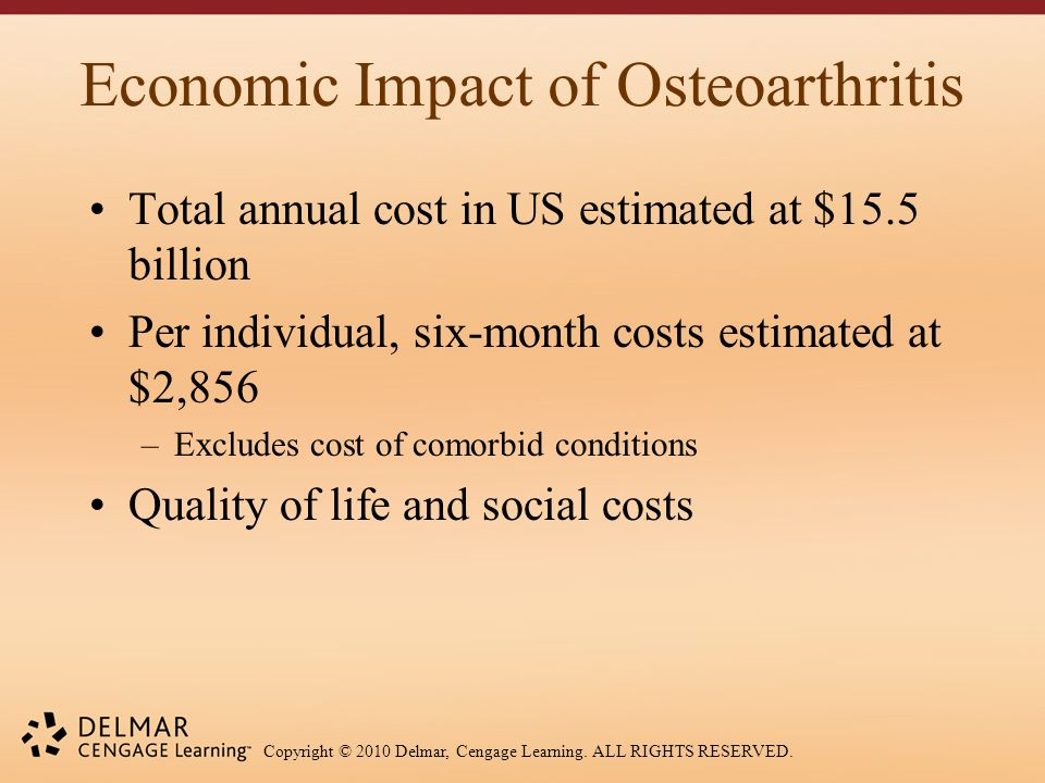 Copyright © 2010 Delmar, Cengage Learning. ALL RIGHTS RESERVED. Economic Impact of Osteoarthritis Total annual cost in US estimated at $15.5 billion P