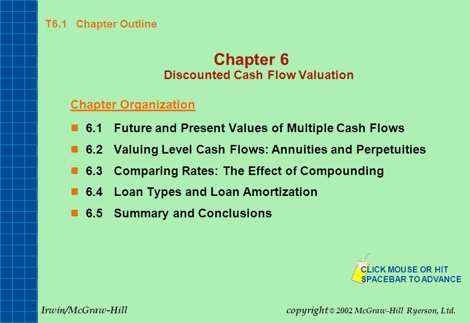 T6.1 Chapter Outline Chapter 6 Discounted Cash Flow Valuation Chapter Organization 6.1Future and Present Values of Multiple Cash Flows 6.2Valuing Level Cash Flows: Annuities and Perpetuities 6.3Comparing Rates: The Effect of Compounding 6.4Loan Types and Loan Amortization 6.5Summary and Conclusions CLICK MOUSE OR HIT SPACEBAR TO ADVANCE Irwin/McGraw-Hillcopyright © 2002 McGraw-Hill Ryerson, Ltd.