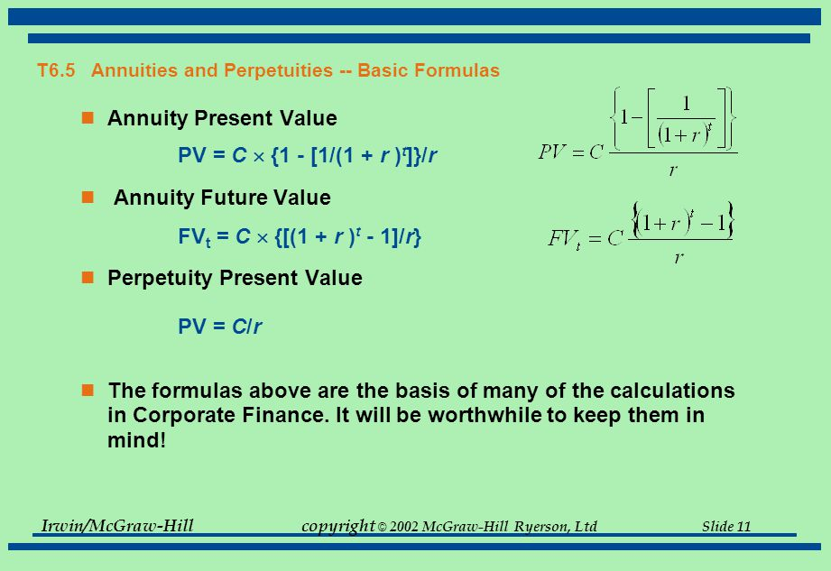 Irwin/McGraw-Hillcopyright © 2002 McGraw-Hill Ryerson, Ltd Slide 11 T6.5 Annuities and Perpetuities -- Basic Formulas Annuity Present Value PV = C  {1 - [1/(1 + r ) t ]}/r Annuity Future Value FV t = C  {[(1 + r ) t - 1]/r} Perpetuity Present Value PV = C/r The formulas above are the basis of many of the calculations in Corporate Finance.