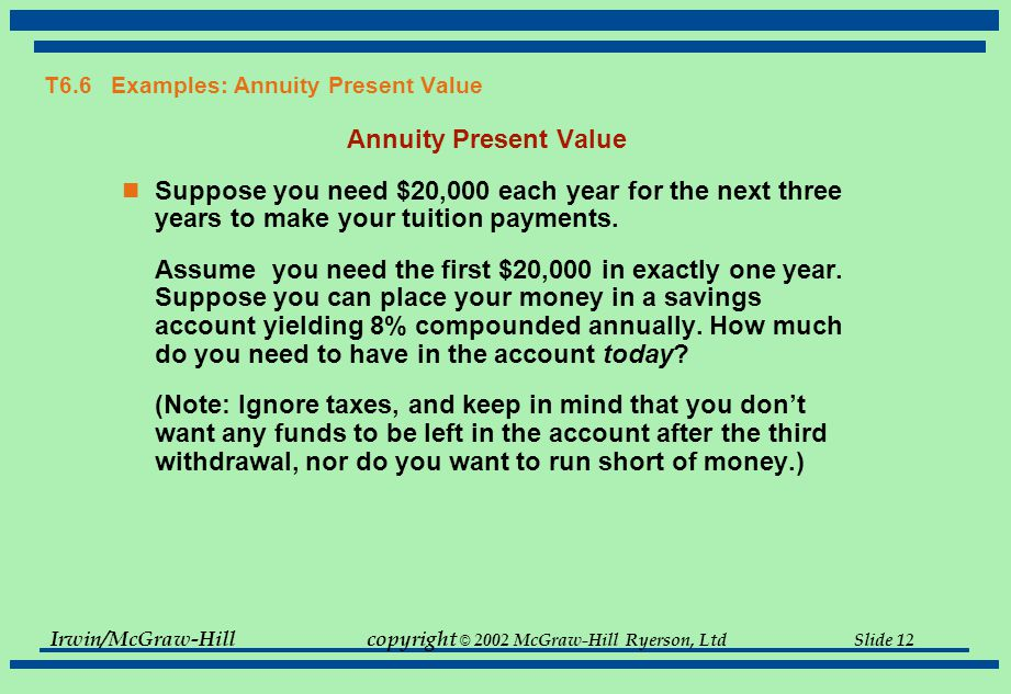 Irwin/McGraw-Hillcopyright © 2002 McGraw-Hill Ryerson, Ltd Slide 12 T6.6 Examples: Annuity Present Value Annuity Present Value Suppose you need $20,000 each year for the next three years to make your tuition payments.