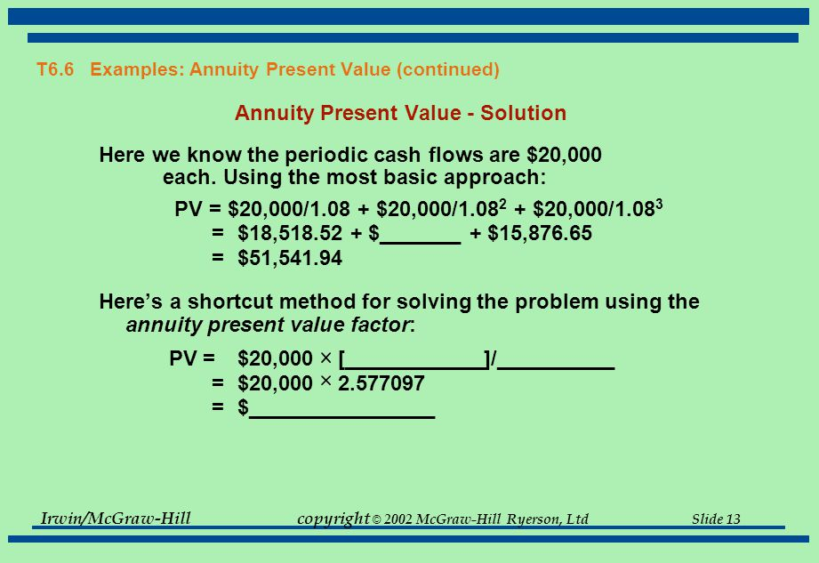 Irwin/McGraw-Hillcopyright © 2002 McGraw-Hill Ryerson, Ltd Slide 13 T6.6 Examples: Annuity Present Value (continued) Annuity Present Value - Solution Here we know the periodic cash flows are $20,000 each.