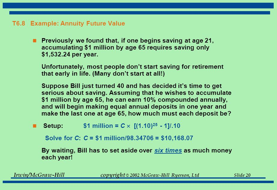 Irwin/McGraw-Hillcopyright © 2002 McGraw-Hill Ryerson, Ltd Slide 20 T6.8 Example: Annuity Future Value Previously we found that, if one begins saving at age 21, accumulating $1 million by age 65 requires saving only $1,532.24 per year.