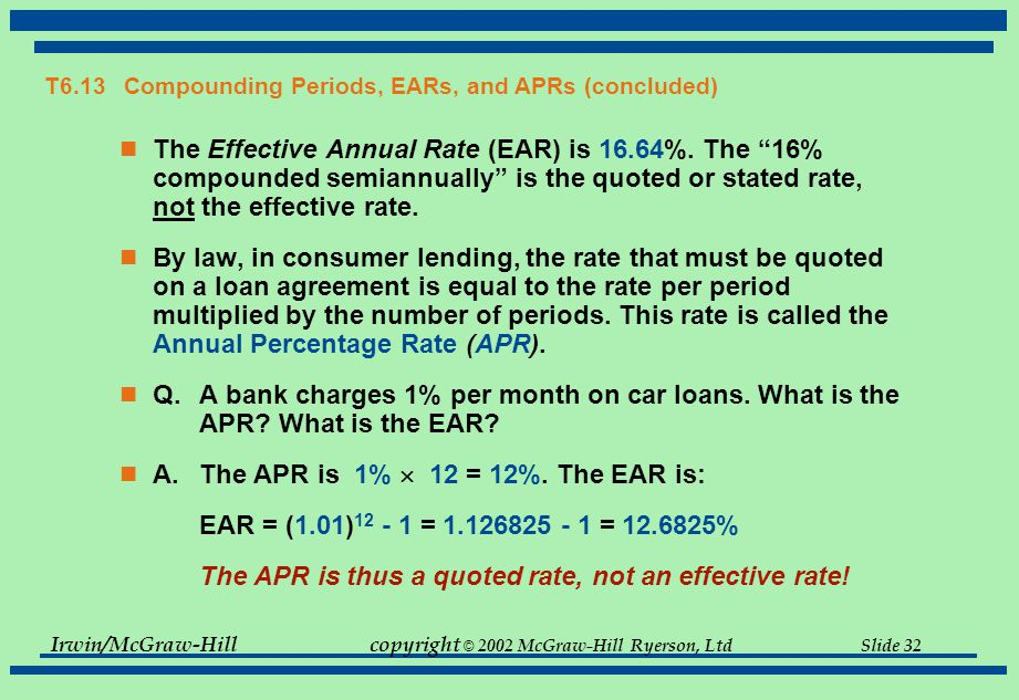 Irwin/McGraw-Hillcopyright © 2002 McGraw-Hill Ryerson, Ltd Slide 32 T6.13 Compounding Periods, EARs, and APRs (concluded) The Effective Annual Rate (EAR) is 16.64%.