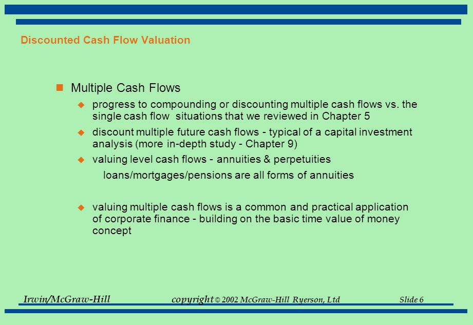 Irwin/McGraw-Hillcopyright © 2002 McGraw-Hill Ryerson, Ltd Slide 6 Discounted Cash Flow Valuation Multiple Cash Flows  progress to compounding or dis