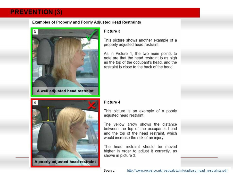 Source: http://www.rospa.co.uk/roadsafety/info/adjust_head_restraints.pdfhttp://www.rospa.co.uk/roadsafety/info/adjust_head_restraints.pdf PREVENTION (3)