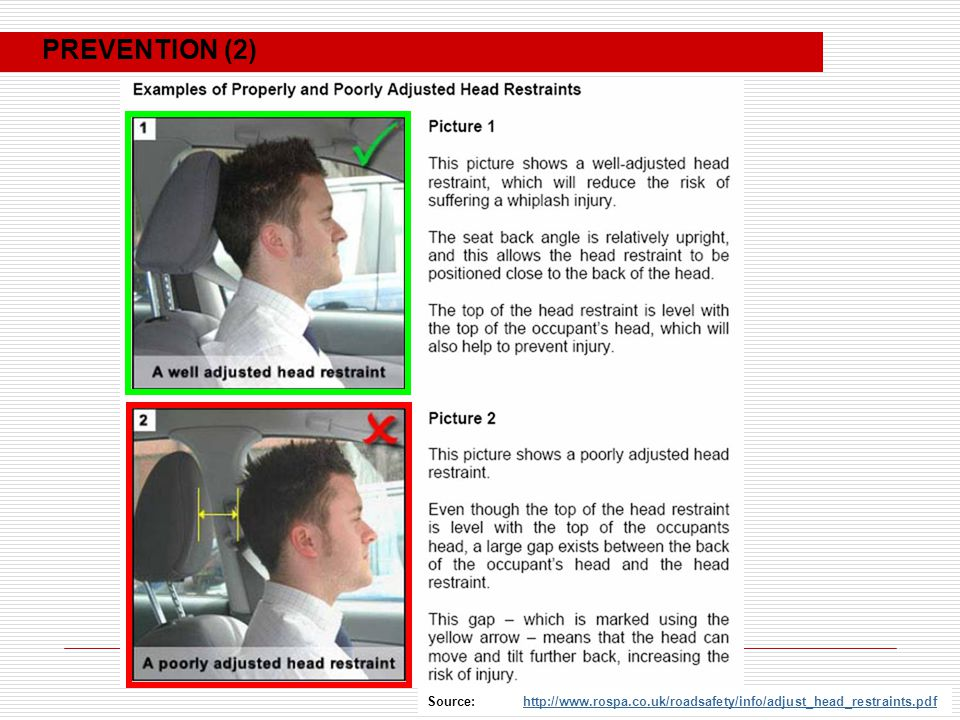 Source: http://www.rospa.co.uk/roadsafety/info/adjust_head_restraints.pdfhttp://www.rospa.co.uk/roadsafety/info/adjust_head_restraints.pdf PREVENTION (2)