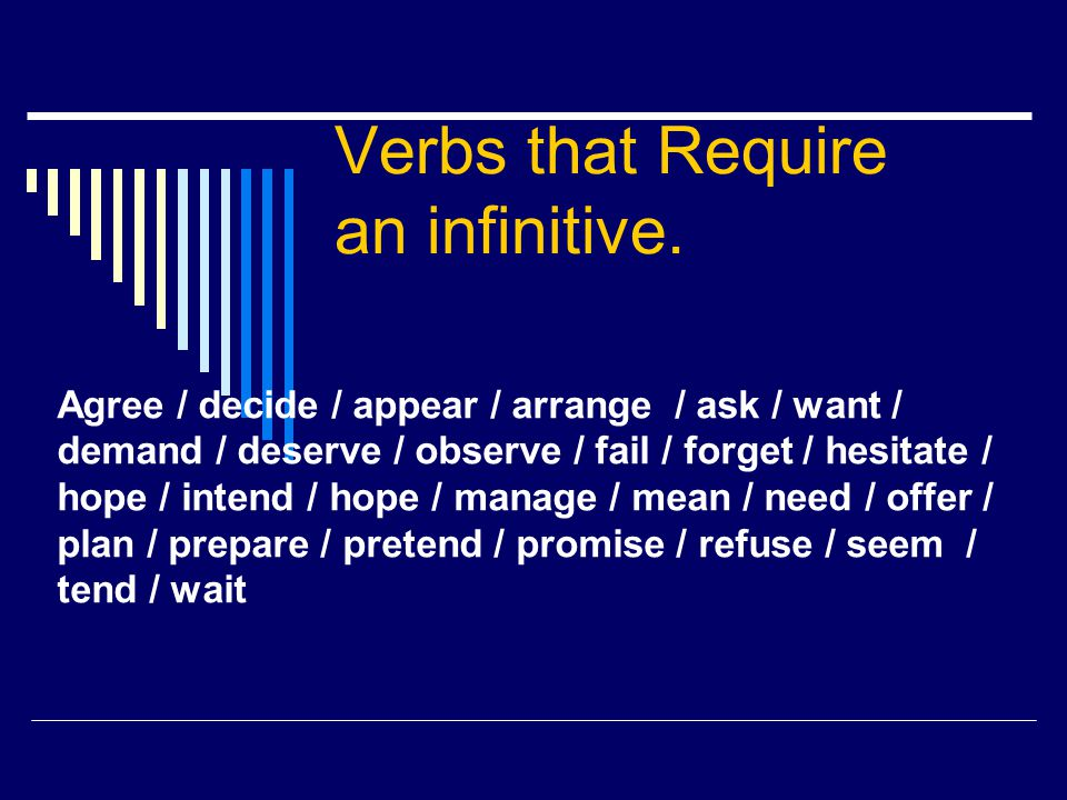Verbs that Require an infinitive. Agree / decide / appear / arrange / ask / want / demand / deserve / observe / fail / forget / hesitate / hope / inte