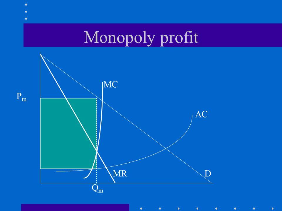 AC Monopoly profit QmQm MR MC D PmPm
