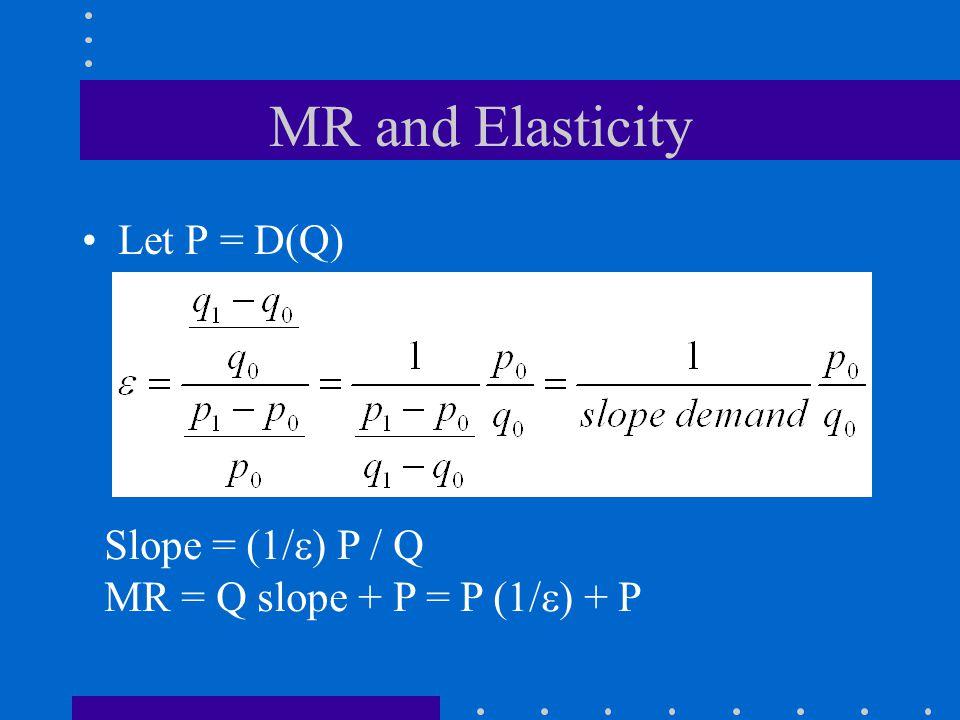 MR and Elasticity Let P = D(Q) Slope = (1/  ) P / Q MR = Q slope + P = P (1/  ) + P