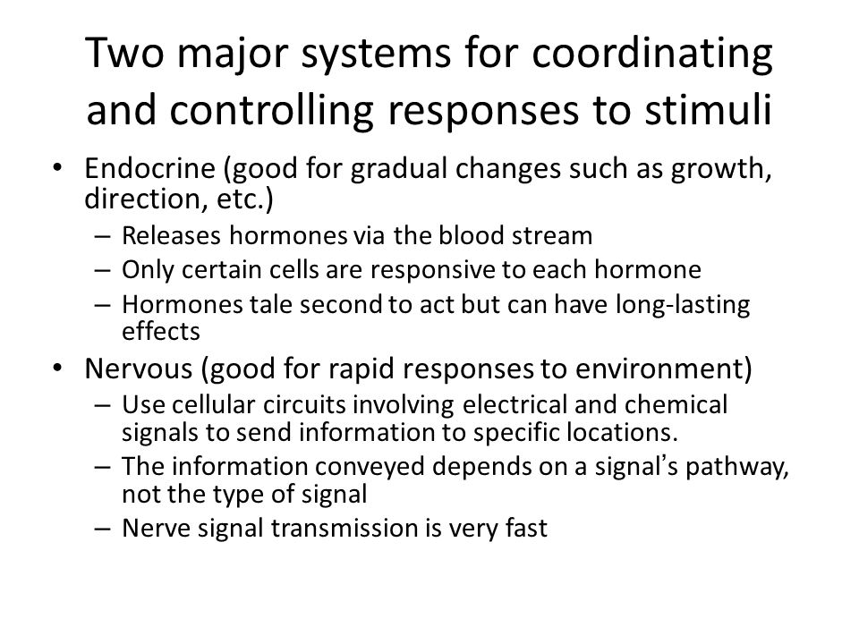 Two major systems for coordinating and controlling responses to stimuli Endocrine (good for gradual changes such as growth, direction, etc.) – Releases hormones via the blood stream – Only certain cells are responsive to each hormone – Hormones tale second to act but can have long-lasting effects Nervous (good for rapid responses to environment) – Use cellular circuits involving electrical and chemical signals to send information to specific locations.