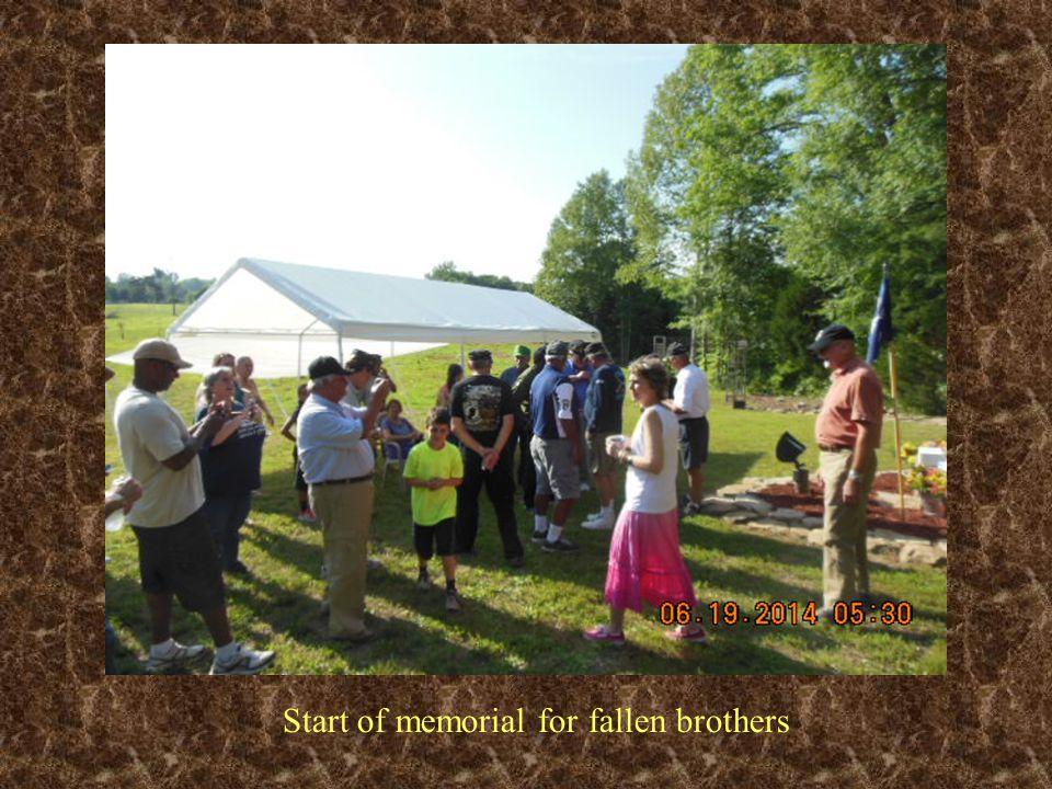 Start of memorial for fallen brothers