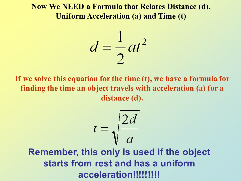 Now We NEED a Formula that Relates Distance (d), Uniform Acceleration (a) and Time (t) If we solve this equation for the acceleration (a), we have a f