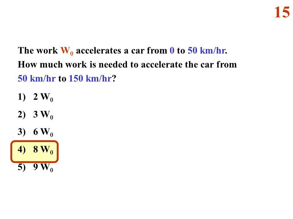 The work W 0 accelerates a car from 0 to 50 km/hr. How much work is needed to accelerate the car from 50 km/hr to 150 km/hr? 1) 2 W 0 2) 3 W 0 3) 6 W
