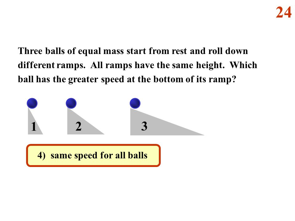1 2 3 Three balls of equal mass start from rest and roll down different ramps.