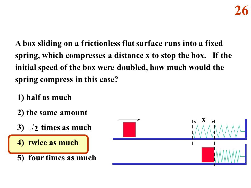 x A box sliding on a frictionless flat surface runs into a fixed spring, which compresses a distance x to stop the box.