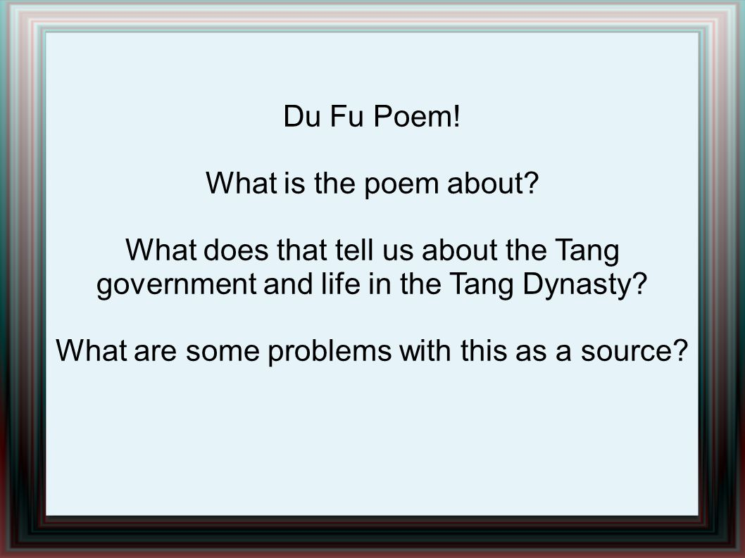 Du Fu Poem. What is the poem about.