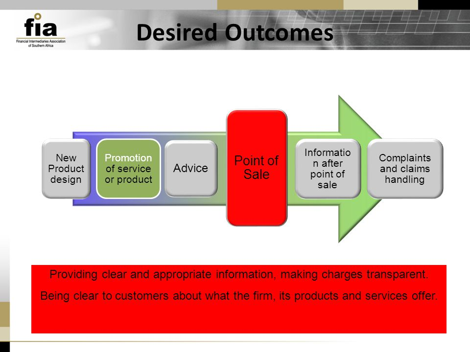 Desired Outcomes New Product design Promotion of service or product Point of Sale Advice Informatio n after point of sale Complaints and claims handling Providing clear and appropriate information, making charges transparent.