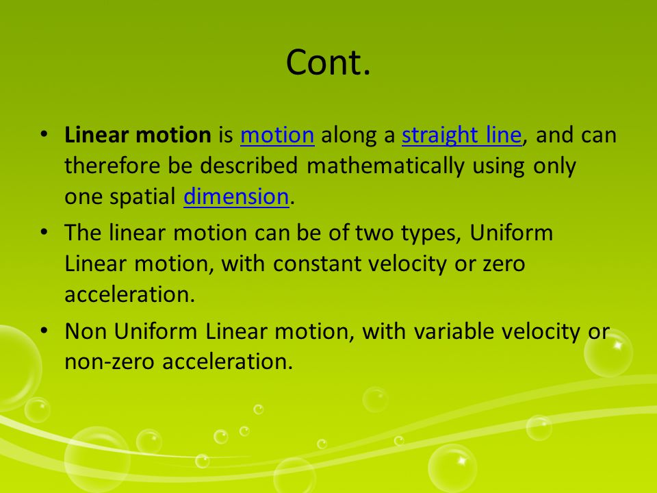 The motion of a particle (a point-like object) along a line can be described by its position x, which varies with t (time).