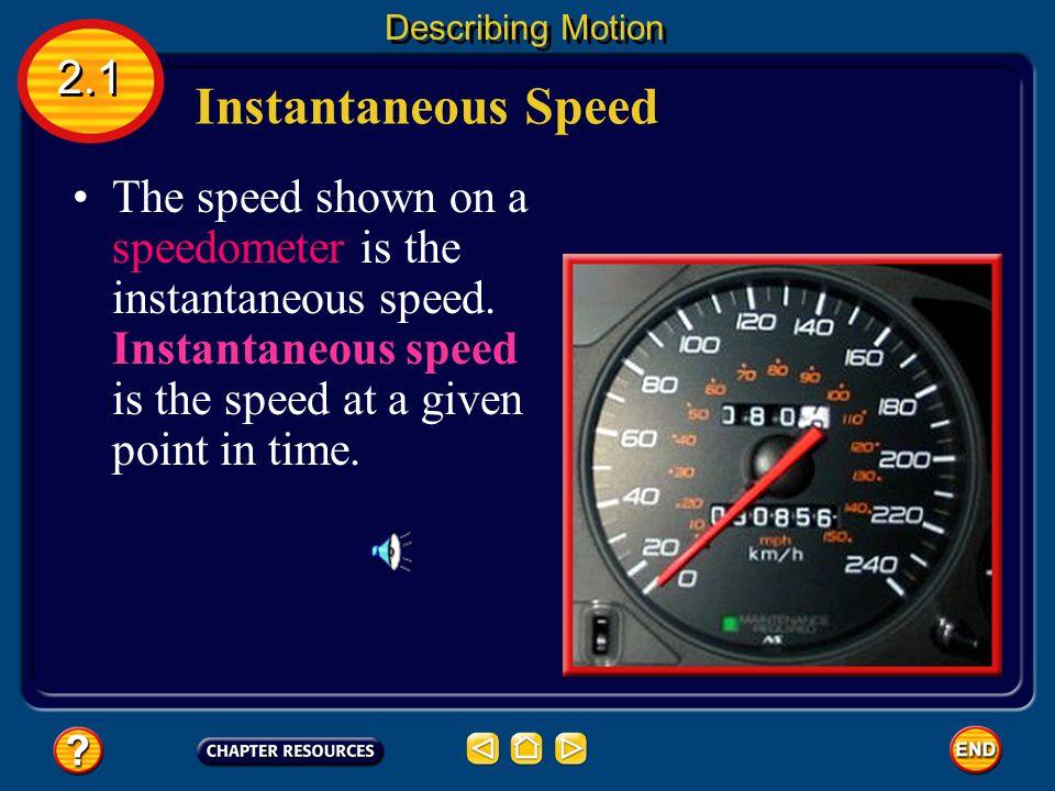 Instantaneous Speed 2.1 Describing Motion The speed shown on a speedometer is the instantaneous speed.