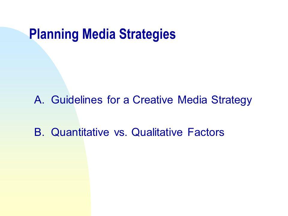 Planning Media Strategies A.Guidelines for a Creative Media Strategy B.Quantitative vs.