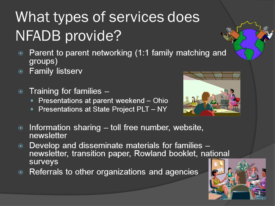 What types of services does NFADB provide.