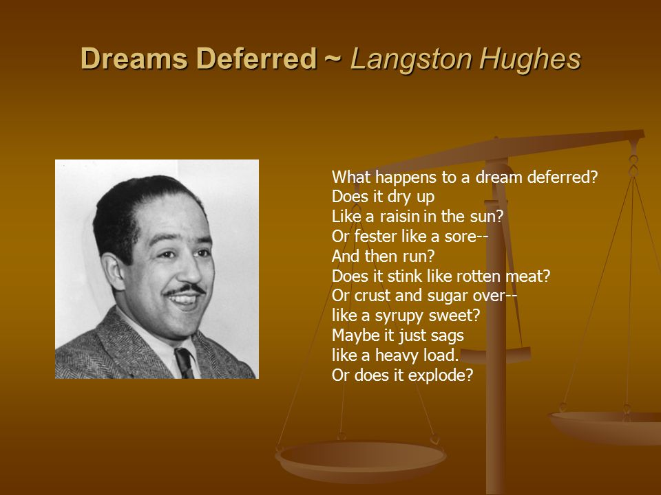Dreams Deferred ~ Langston Hughes What happens to a dream deferred.