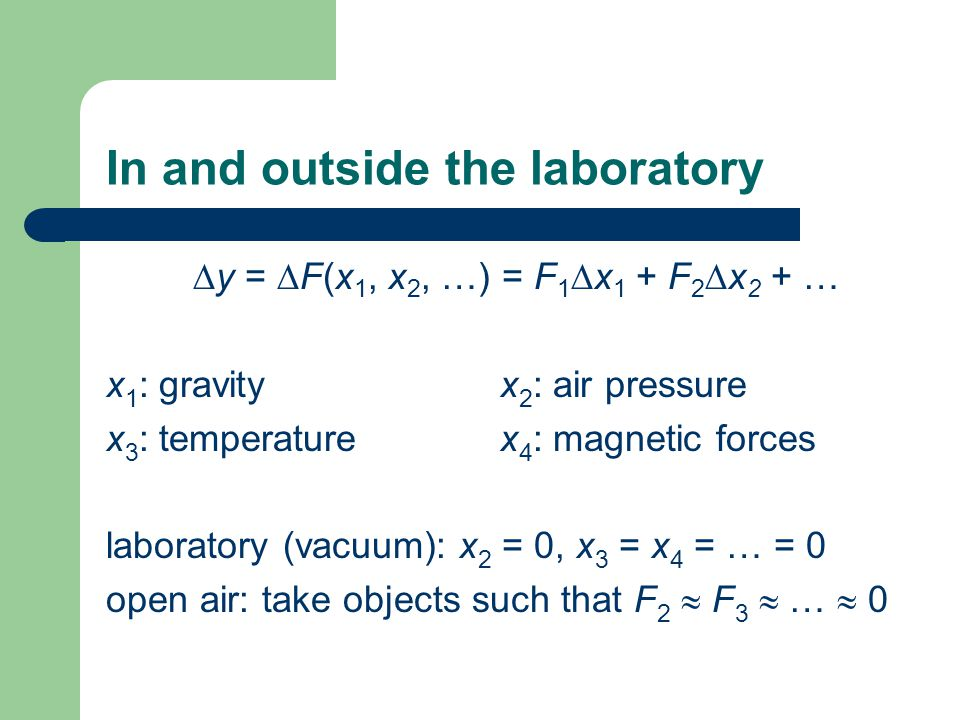 In and outside the laboratory  y =  F(x 1, x 2, …) = F 1  x 1 + F 2  x 2 + … x 1 : gravity x 2 : air pressure x 3 : temperature x 4 : magnetic forces laboratory (vacuum): x 2 = 0, x 3 = x 4 = … = 0 open air: take objects such that F 2  F 3  …  0
