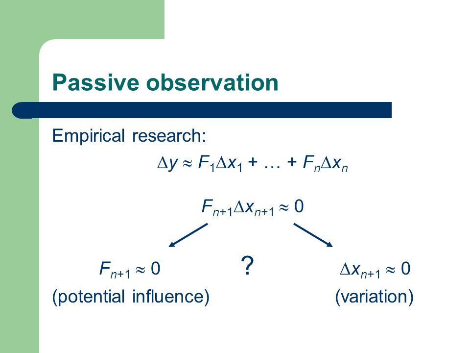 Passive observation Empirical research:  y  F 1  x 1 + … + F n  x n F n+1  x n+1  0 F n+1  0 .