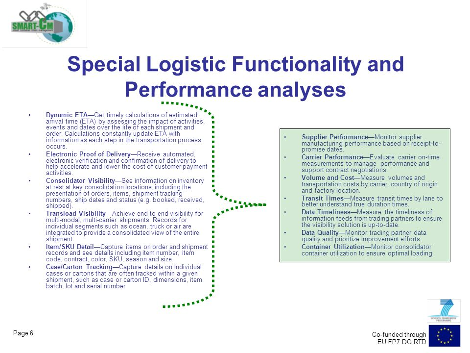 Page 6 Co-funded through EU FP7 DG RTD Special Logistic Functionality and Performance analyses Dynamic ETA—Get timely calculations of estimated arrival time (ETA) by assessing the impact of activities, events and dates over the life of each shipment and order.