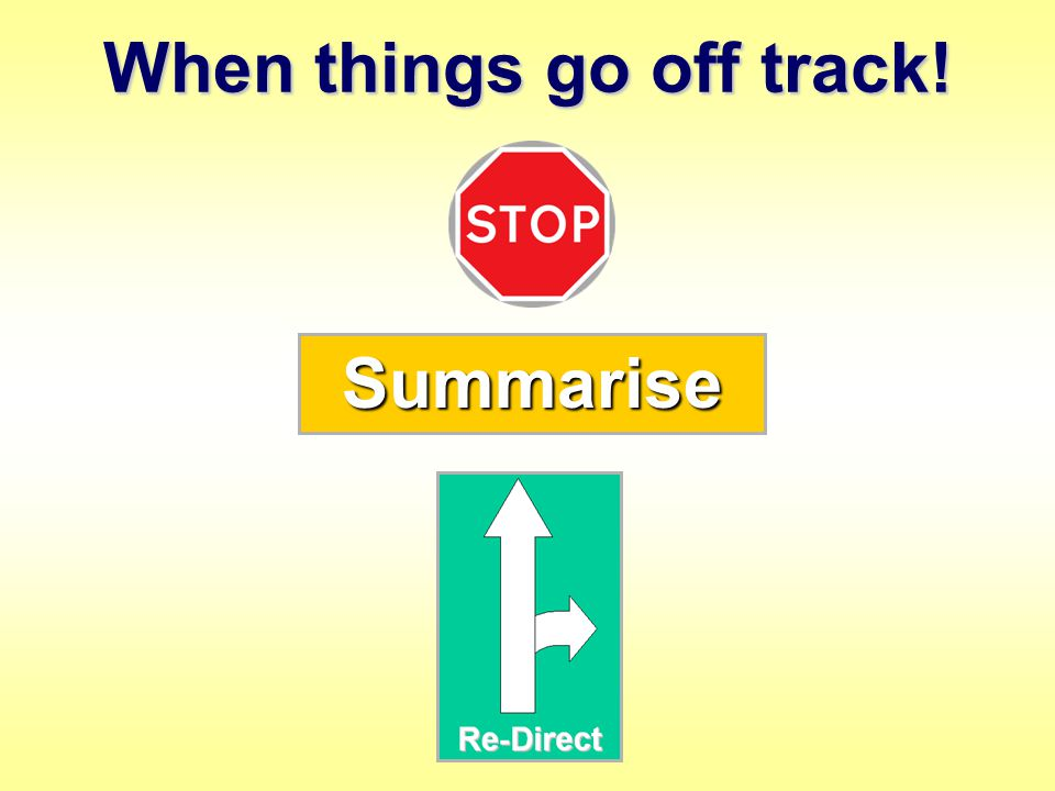 When things go off track! Summarise
