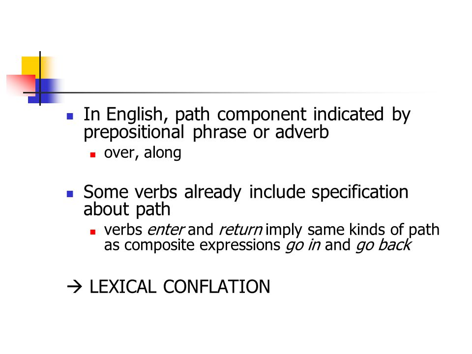 In English, path component indicated by prepositional phrase or adverb over, along Some verbs already include specification about path verbs enter and return imply same kinds of path as composite expressions go in and go back  LEXICAL CONFLATION