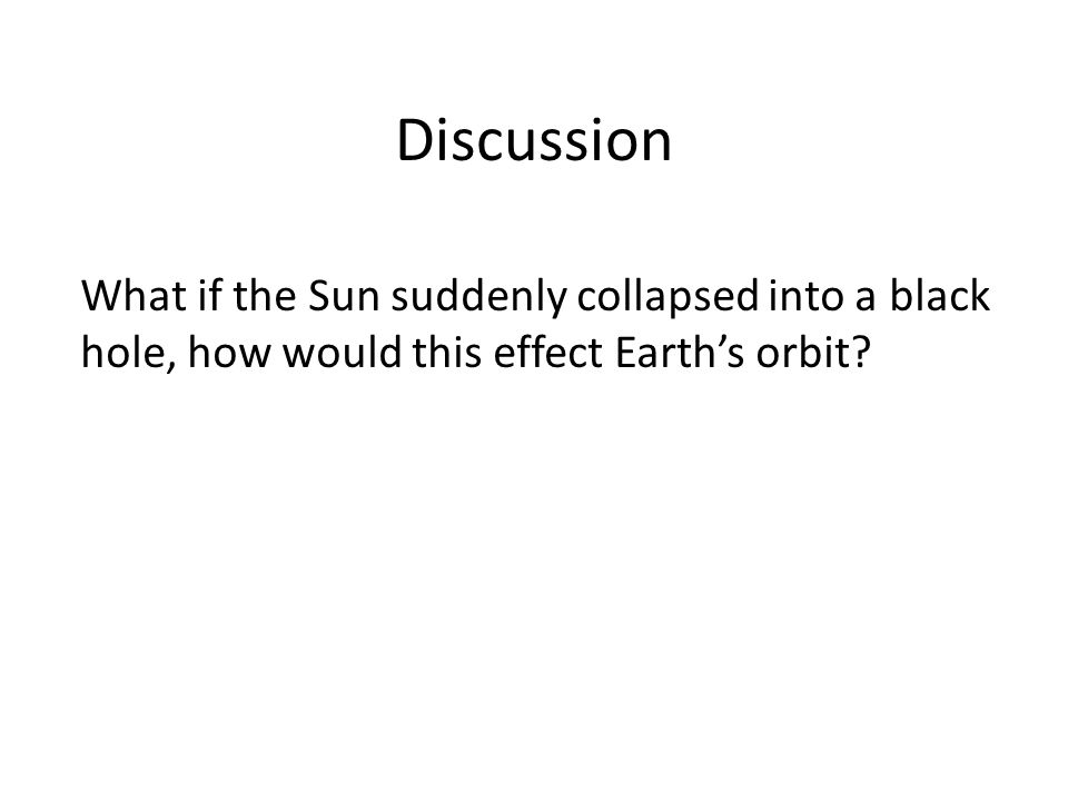Discussion What if the Sun suddenly collapsed into a black hole, how would this effect Earth's orbit