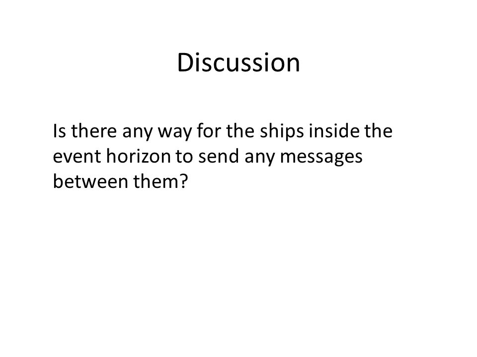 Discussion Is there any way for the ships inside the event horizon to send any messages between them?