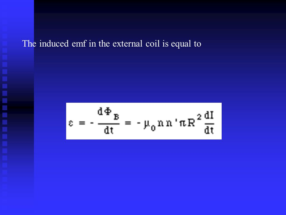 The induced emf in the external coil is equal to