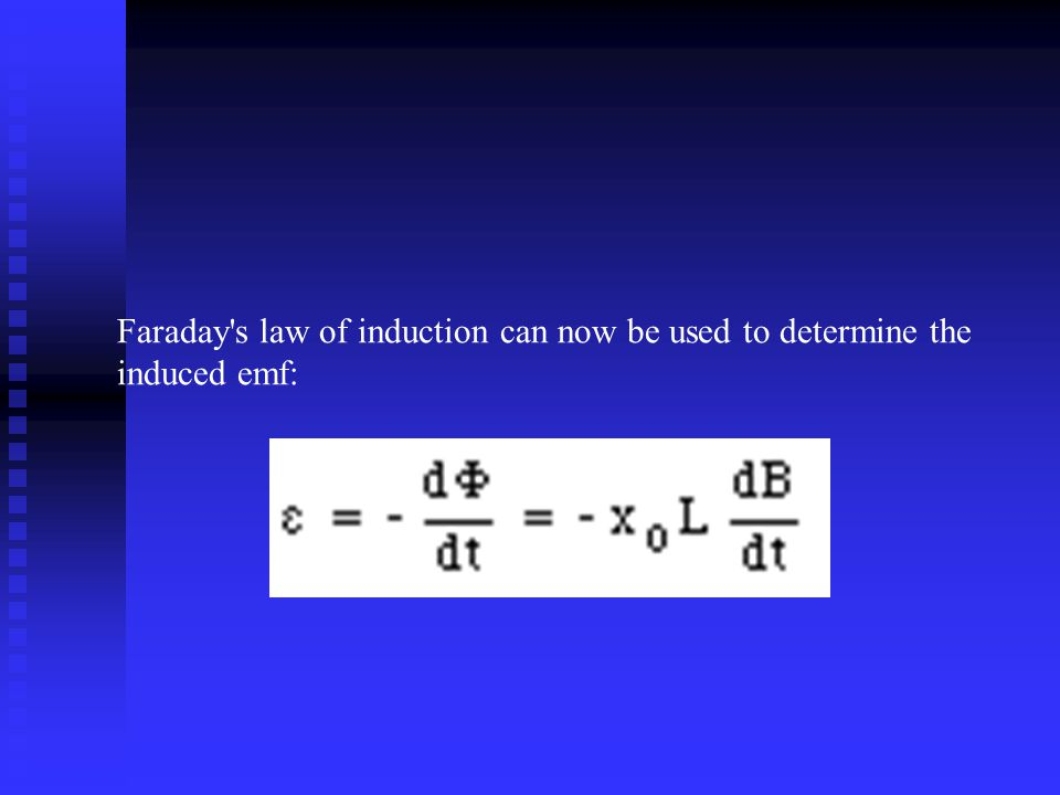 Faraday s law of induction can now be used to determine the induced emf: