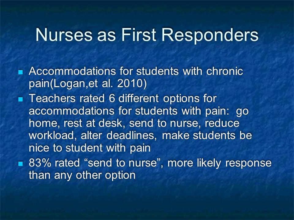 Nurses as First Responders Accommodations for students with chronic pain(Logan,et al.