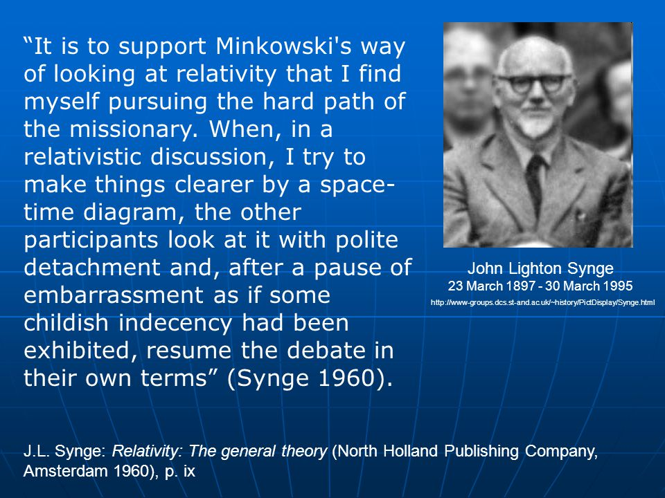 It is to support Minkowski s way of looking at relativity that I find myself pursuing the hard path of the missionary.