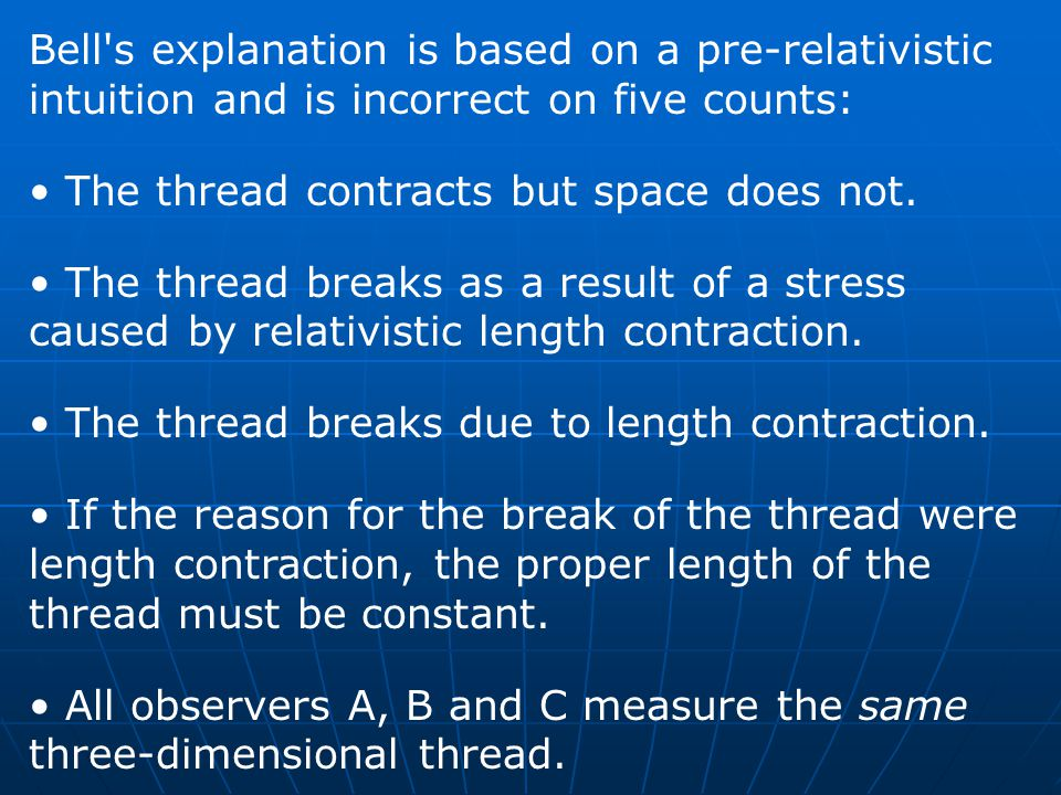 Bell s explanation is based on a pre-relativistic intuition and is incorrect on five counts: The thread contracts but space does not.