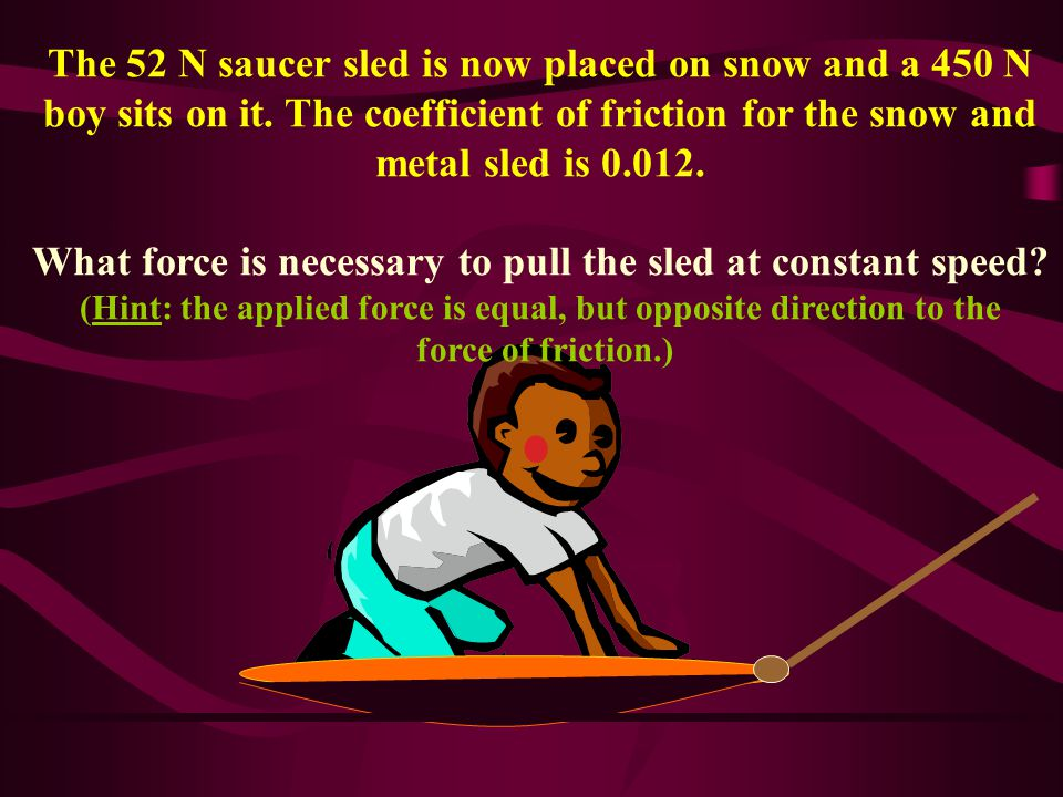 The 52 N saucer sled is now placed on snow and a 450 N boy sits on it.