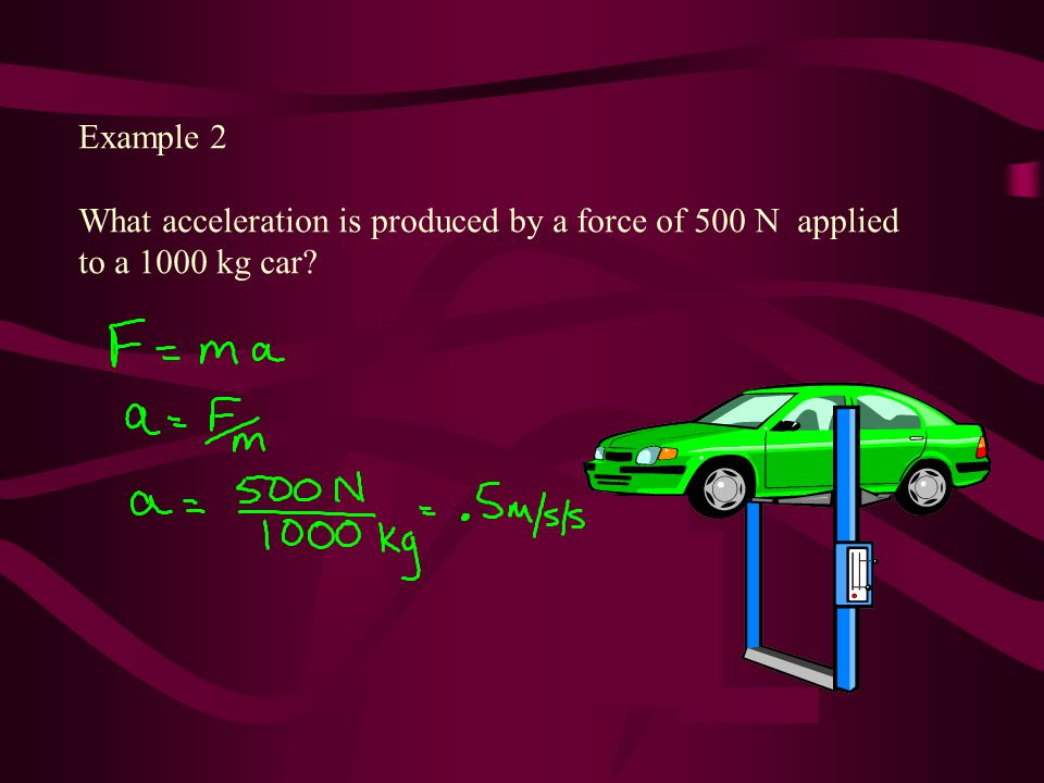 Example 2 What acceleration is produced by a force of 500 N applied to a 1000 kg car