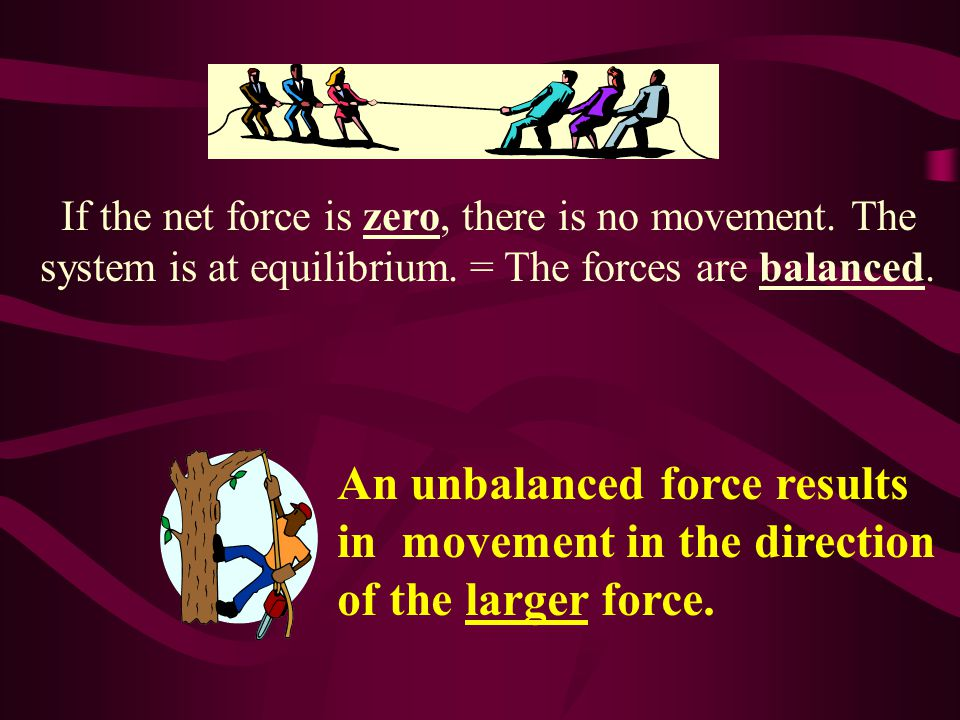 If the net force is zero, there is no movement. The system is at equilibrium.