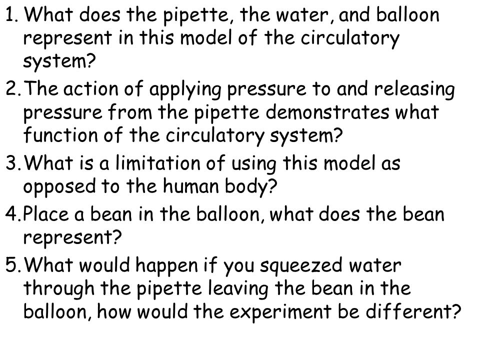 1.What does the pipette, the water, and balloon represent in this model of the circulatory system? 2.The action of applying pressure to and releasing