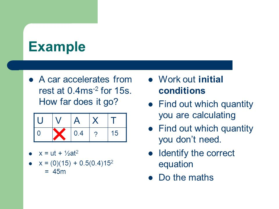 Example A car accelerates from rest at 0.4ms -2 for 15s. How far does it go? x = ut + ½at 2 x = (0)(15) + 0.5(0.4)15 2 = 45m Work out initial conditio