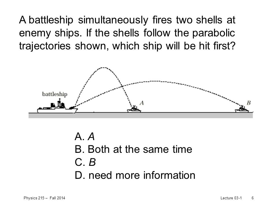 Physics 215 – Fall 2014Lecture 03-16 A battleship simultaneously fires two shells at enemy ships.