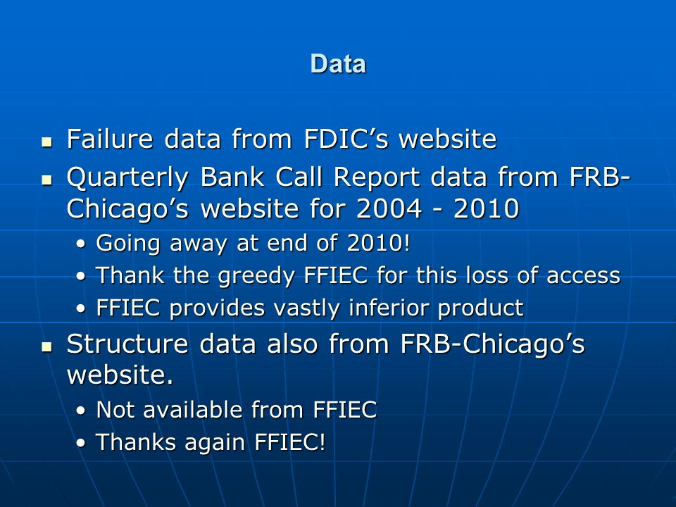 Data Failure data from FDIC's website Failure data from FDIC's website Quarterly Bank Call Report data from FRB- Chicago's website for 2004 - 2010 Qua