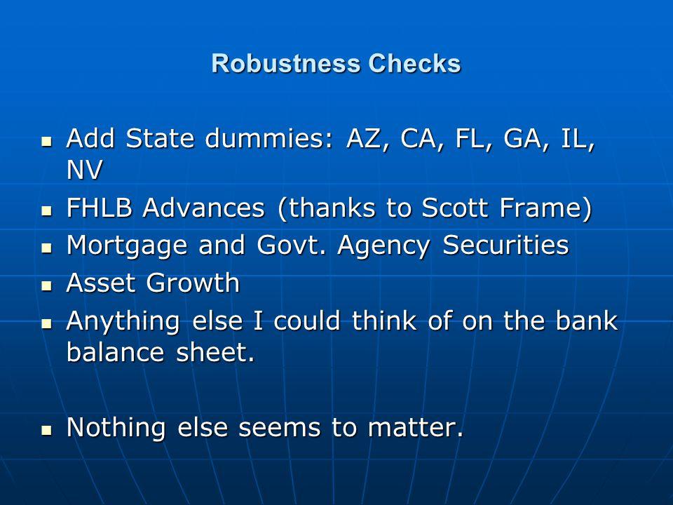 Robustness Checks Add State dummies: AZ, CA, FL, GA, IL, NV Add State dummies: AZ, CA, FL, GA, IL, NV FHLB Advances (thanks to Scott Frame) FHLB Advances (thanks to Scott Frame) Mortgage and Govt.