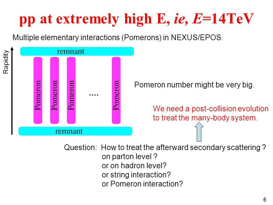 6 pp at extremely high E, ie, E=14TeV Multiple elementary interactions (Pomerons) in NEXUS/EPOS : Question: How to treat the afterward secondary scattering .