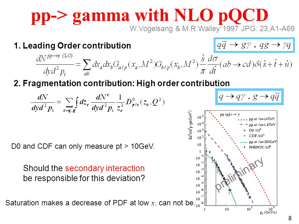 8 pp-> gamma with NLO pQCD 2. Fragmentation contribution: High order contribution 1.