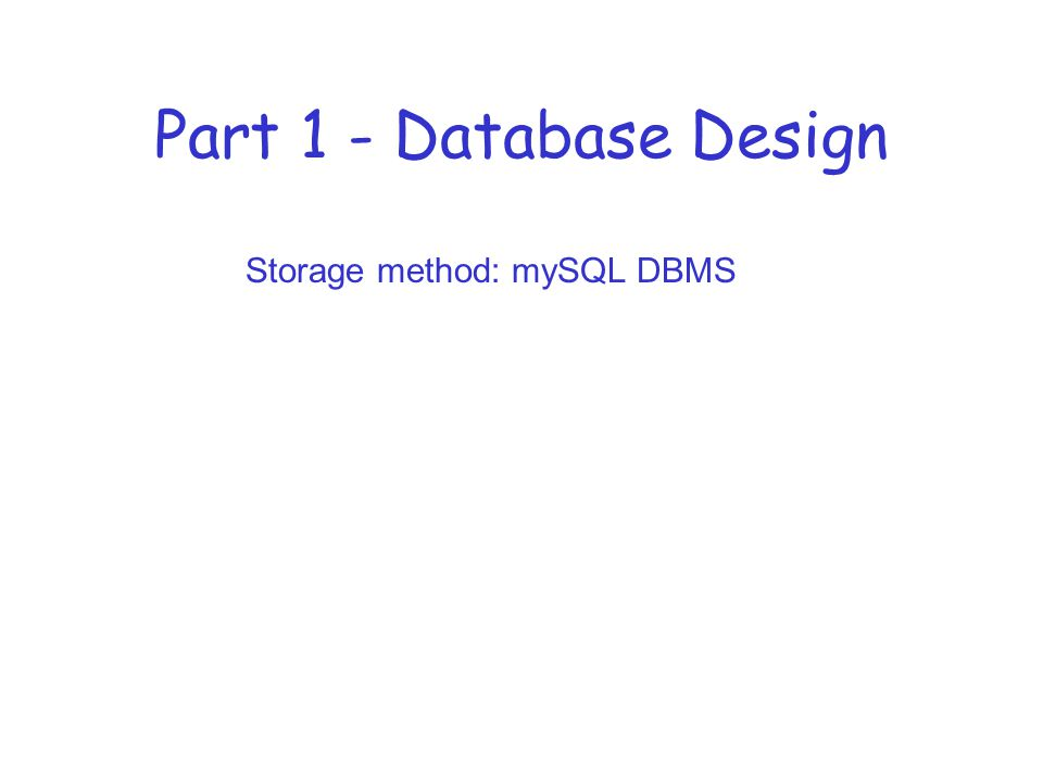 Part 1 - Database Design Storage method: mySQL DBMS