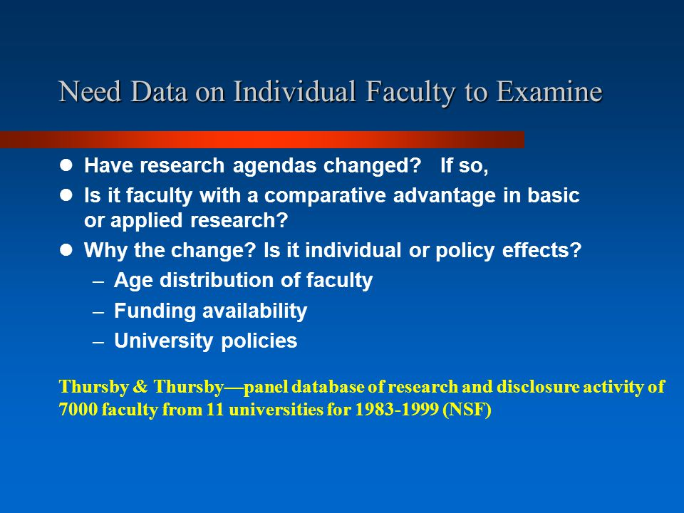 Need Data on Individual Faculty to Examine Have research agendas changed.